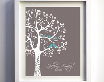 Custom Valentines Day Gift for wife, Personalized Family Tree, Family Tree, Romantic Valentines Day Gift for Wife for Her Love Birds Art