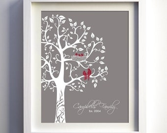 Custom family tree, nursery wall art, bird themed art print, family christmas gift, family room art, custom tree, baby shower gift, tree