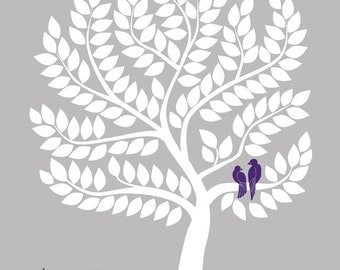 Guest Book Tree Poster Custom Guest Book Alternative Personalized Wedding Guestbook Tree Love Birds Theme Lapis Grey Silver purple eggplant