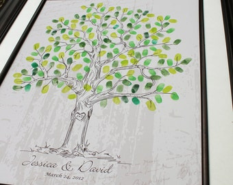 Thumbprint guestbook alternative guest book poster wedding tree signature tree personalized engagement gift custom wedding gift rustic tree