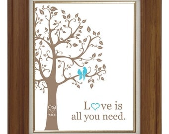 Love is all you need print with love birds, wedding tree, wedding anniversary paper anniversary gift ideas teal taupe turquoise gift for her