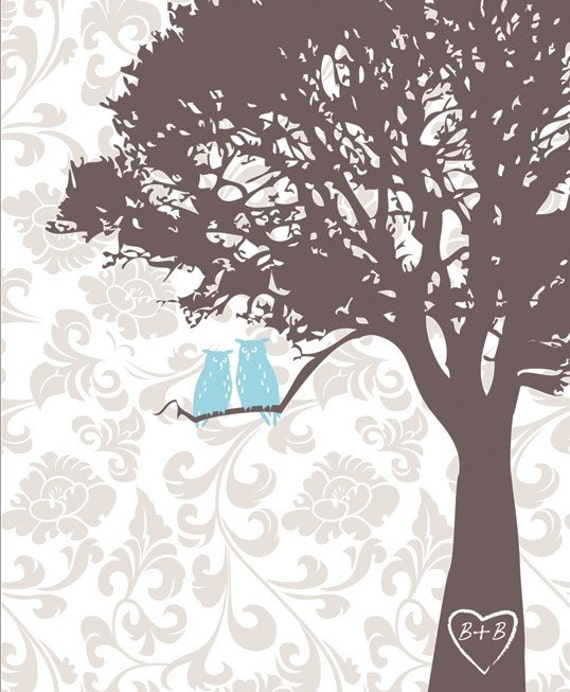 Love Birds Owls in the tree print on flower damask 8x10, chocolate brown and sky blue or pick your own colors