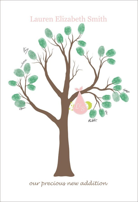 personalized baby shower gift baby shower tree thumb print poster