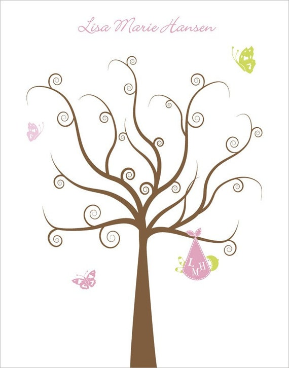 similar to personalized baby shower gift baby shower tree thumb print