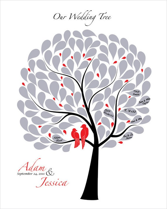 Custom Wedding guest book Tree Modern Wedding tree Wedding Love birds Guestbook custom wedding gift Black Red Silver Classic Wedding Idea