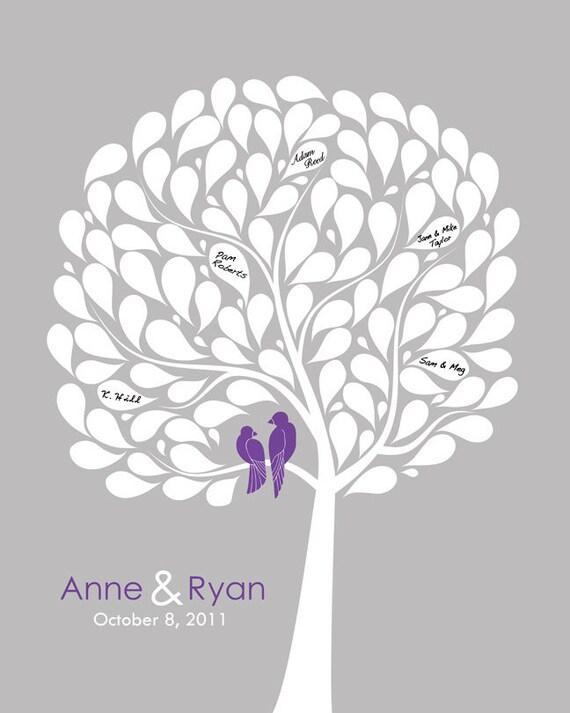 Wedding Guest Book Alternative Custom Weding Gift Love Bird Wedding Theme Modern Wedding Tree Personalized Wedding Gift Engagement Gift