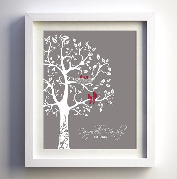 Family tree wall art Custom Anniversary Gift Personalized Family Tree with birds Paper Anniversary Gift Baby Shower Gift Love Birds