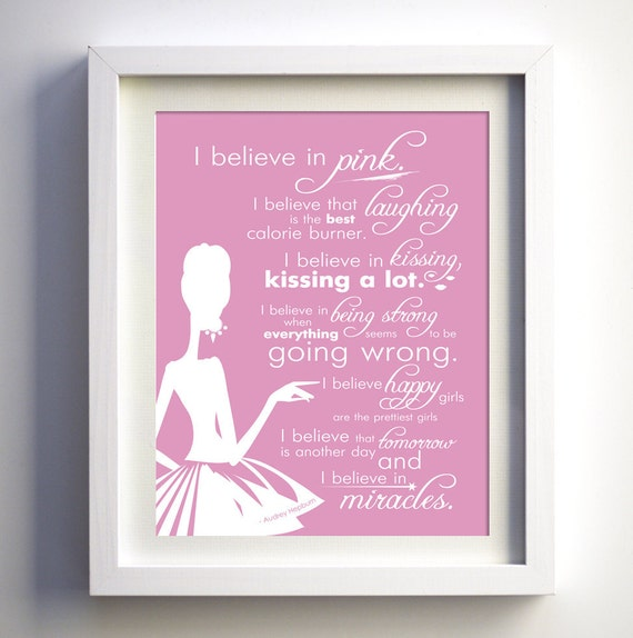 items similar to i believe in pink by audrey hepburn