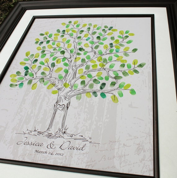 Wedding Guestbook Thumprint Tree Canvas A Great Wedding: Wedding Tree Guest Book Custom Wedding Gift Unique By