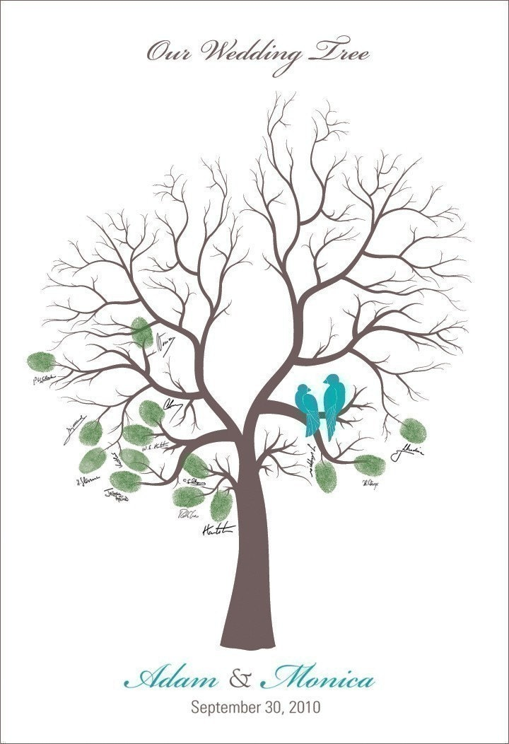 Personalized Poster THUMB PRINTS 13x19 Wedding Tree with Love