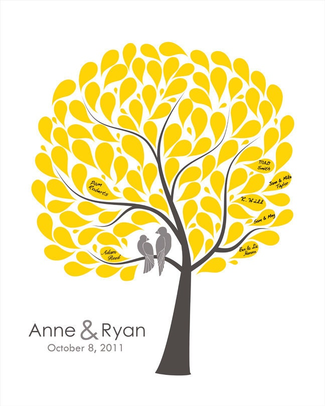 Wedding Tree Vector: Guest Book Tree Custom Guestbook Alternative Signature Tree