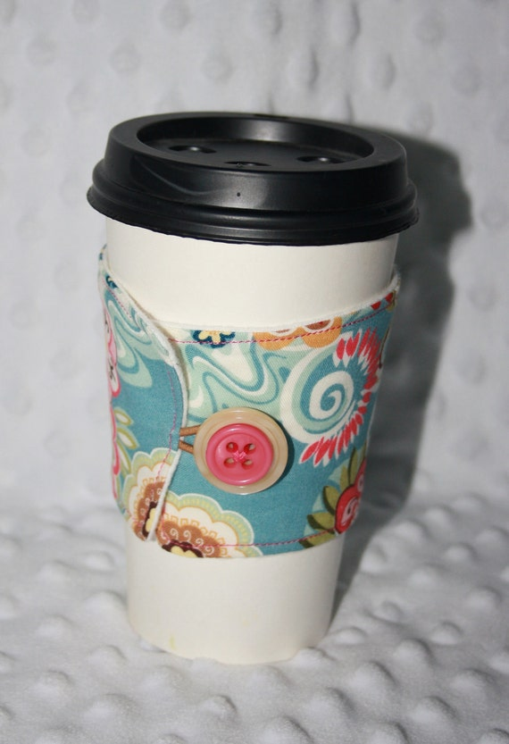 Adjustable Coffee Cozy/Sleeve- Light Blue with Flowers