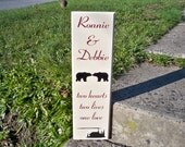 Sign, Personalized Couple Sign, Personalized Family Sign, Name Sign, Wedding Sign, Cabin Sign, Bear Sign, Custom Name Sign, Hunting Sign,
