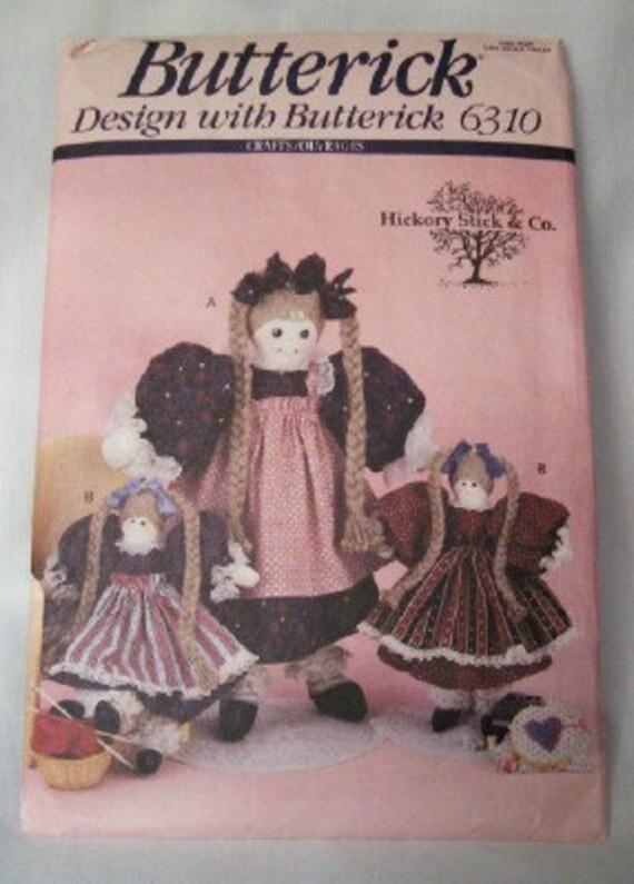 "Butterick 6310 Beth and Jennifer dolls pattern 14"" and 24"" dolls"