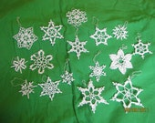 Winter Wedding 15 handmade Crocheted Snowflakes - Christmas NEW