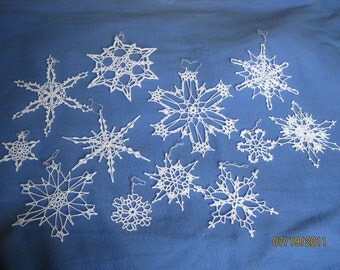 12 Handmade Snowflakes Lot 6a Crocheted White