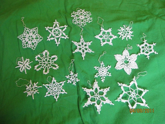 Winter Wedding 15 handmade Crocheted Snowflakes - Christmas NEW
