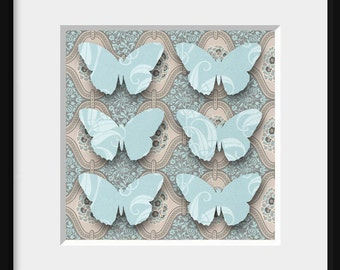 Digital collage 125x125mm FADED LOTUS 4, asian style, vintage inspired, blue butterflies, beige background
