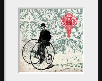 DIGITAL COLLAGE print 5x5, vintage illustration, asian motif - Life's Journey6