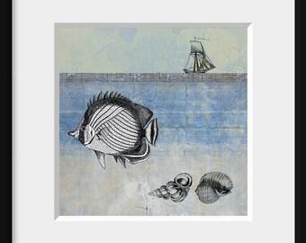 Digital collage, 5x5 LIFE'S JOURNEY 2 - vintage inspired nostalgic art, seascape, fish, seashells, ship