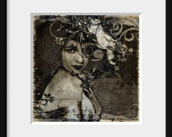 DIGITAL COLLAGE Nocturne - 5x5 portrait print, female, nostalgic, sepia, digitally altered