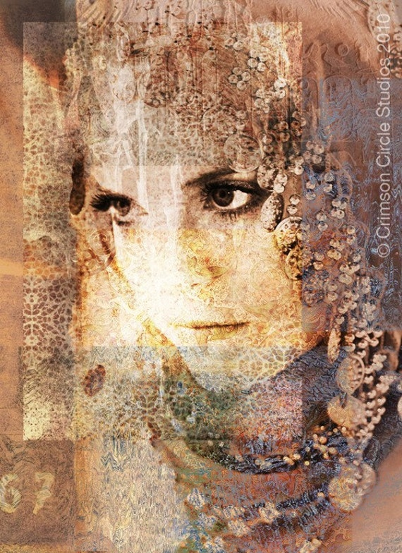 Postcard glossy - Vintage Moroccan portrait art - digital collage