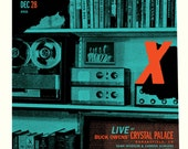 """X - """"X-mas Rock-n-Roll Revival tour Dec 2011"""" limited edition screen printed poster"""