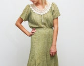 25% off SALE. 1950s dress set with crochet / olive sage green skirt and blouse (Medium-Large)