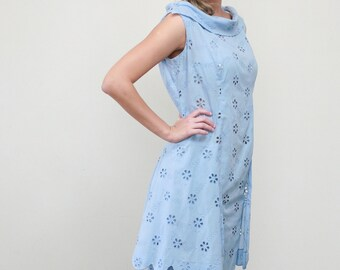 vintage 1960's mod dress Large, eyelet lace dress, peplum cotton dress Large