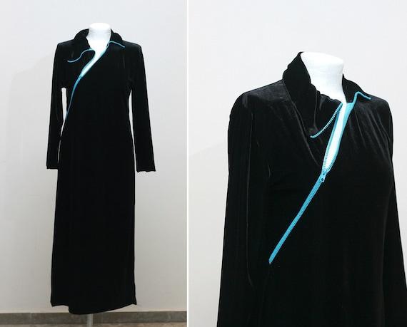 Free Shipping. on SALE. 1980s vintage velvet black dress with diagonal zipper (medium)