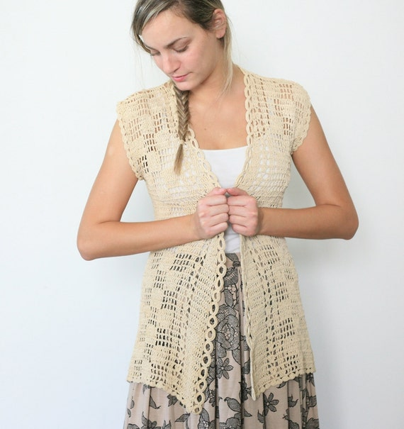 Vintage crochet boho knit vest in cream beige