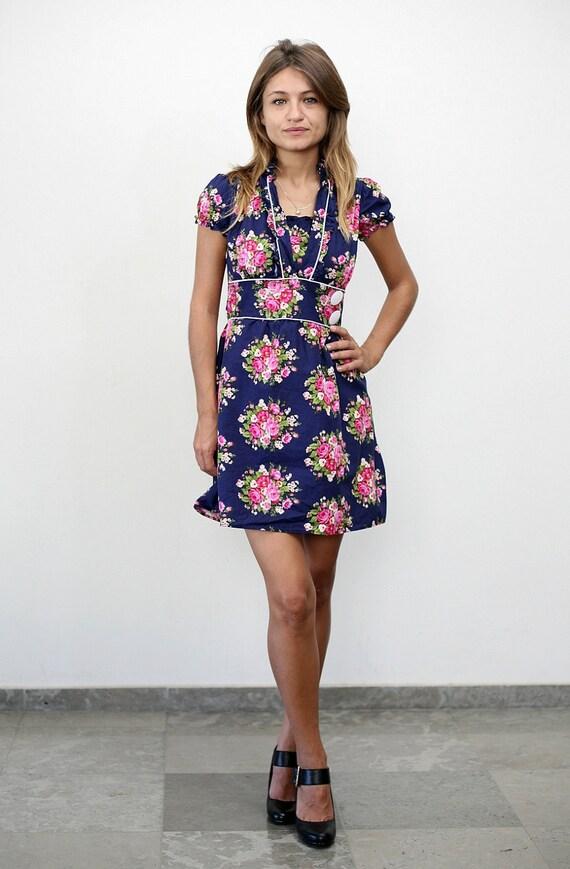 on SALE. Vintage floral navy blue prairie cotton mini dress (xs-small)