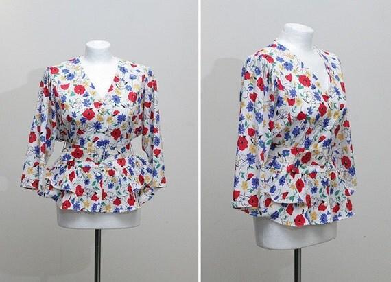 1980s vintage peplum floral top blouse (M-L)