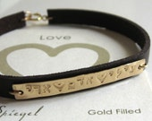Personalized Fathers Day 14k Gold Filled Mother Jewelry, 2 or 3 Names Hand Stamped Name Bracelet in English or Hebrew Valentines Jewelry