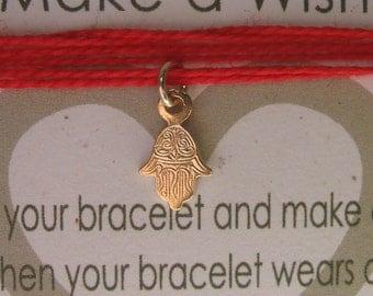 Tiny Hamsa Bracelet red string bracelet Evil Eye Gold Hand Charm Make A Wish Bracelet Cute Hamsa Wrap Around Evil Eye Protection Symbol