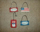 Set of 4 mini patriotic ornaments perfect for my Charlie brown tree