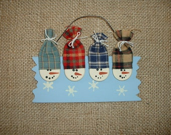Personalized Snowmen Christmas ornament - Four Snowmen