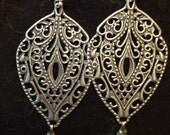 Laura, beautiful boho silver tone earrings with a vintage crystal drop