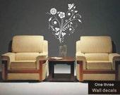 one three Wall Decals Stickers Vinyl Art Flower9