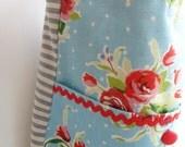 SALE Tote Bag - Messenger style in Blue Vintage Rose