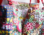 Tote Bag - Messenger style in Mod Floral Showerproof Fabric