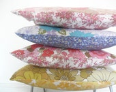 Cushion Cover -  Pillow Cover in Pink Vintage Retro Floral Fabric