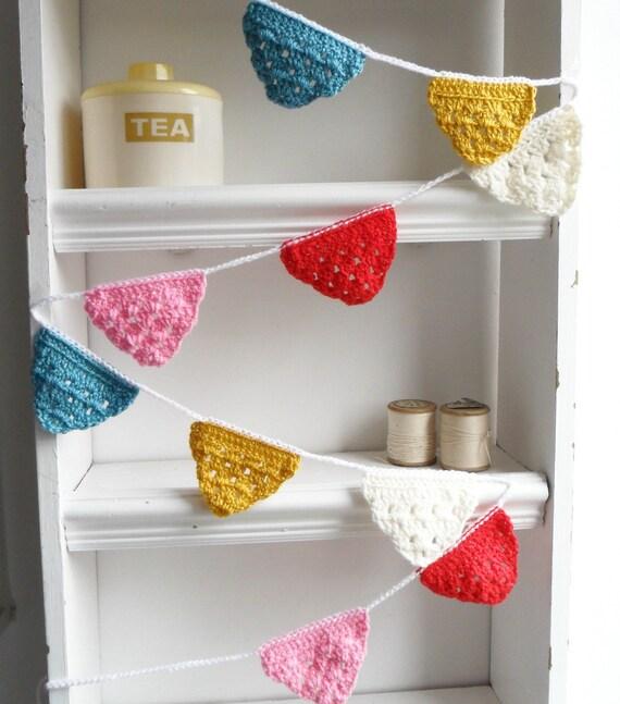 Cute Crochet Grannies Garland/Banner/Bunting Summer Colours