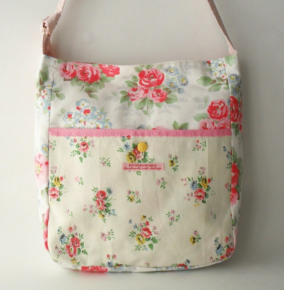 Floral Tote Bag - Messenger Style
