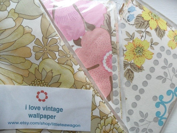 Vintage Wallpaper Scrap Pack x 10 Pieces of Retro Patterns