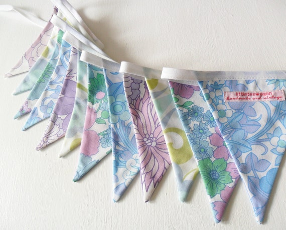 Bunting in Vintage Sheet Florals - Banner - Garland for Parties - Weddings