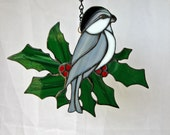 Stained Glass Chickadee Sun Catcher