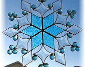 Reserved for Beadmatrix -  Beveled Blue Glass Snowflake Suncatcher