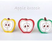apple felt handmade pin