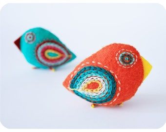 bright bird pins - felt brooches - embroidered bird